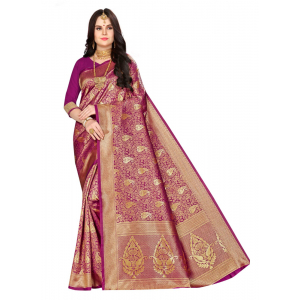 Generic Women's Banarasi silk Saree with Blouse (Purple, 5-6mtr)