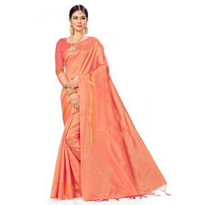 Generic Women's Banarasi silk Saree with Blouse (Peach, 5-6mtr)
