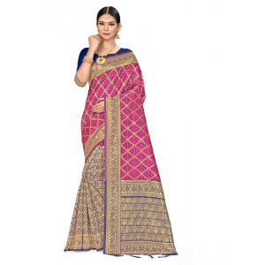 Generic Women's Banarasi silk Saree with Blouse (Pink,Navy blue, 5-6mtr)