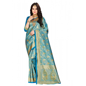 Turvi Women's Banarasi silk Saree with Blouse (Blue, 5-6mtr)