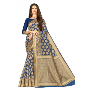 Generic Women's Banarasi silk Saree with Blouse (Royal blue, 5-6mtr)