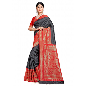 Turvi Women's Banarasi silk Saree with Blouse (Black, 5-6mtr)