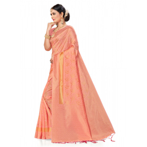 Turvi Women's Banarasi silk Saree with Blouse (Light pink, 5-6mtr)