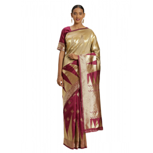 Generic Women's Banarasi silk Saree with Blouse (Purple,beige, 5-6mtr)
