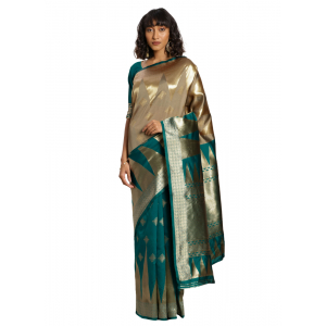 Generic Women's Banarasi silk Saree with Blouse (Green,beige, 5-6mtr)