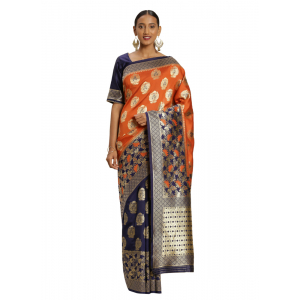 Turvi Women's Banarasi silk Saree with Blouse (Navy blue,orange, 5-6mtr)
