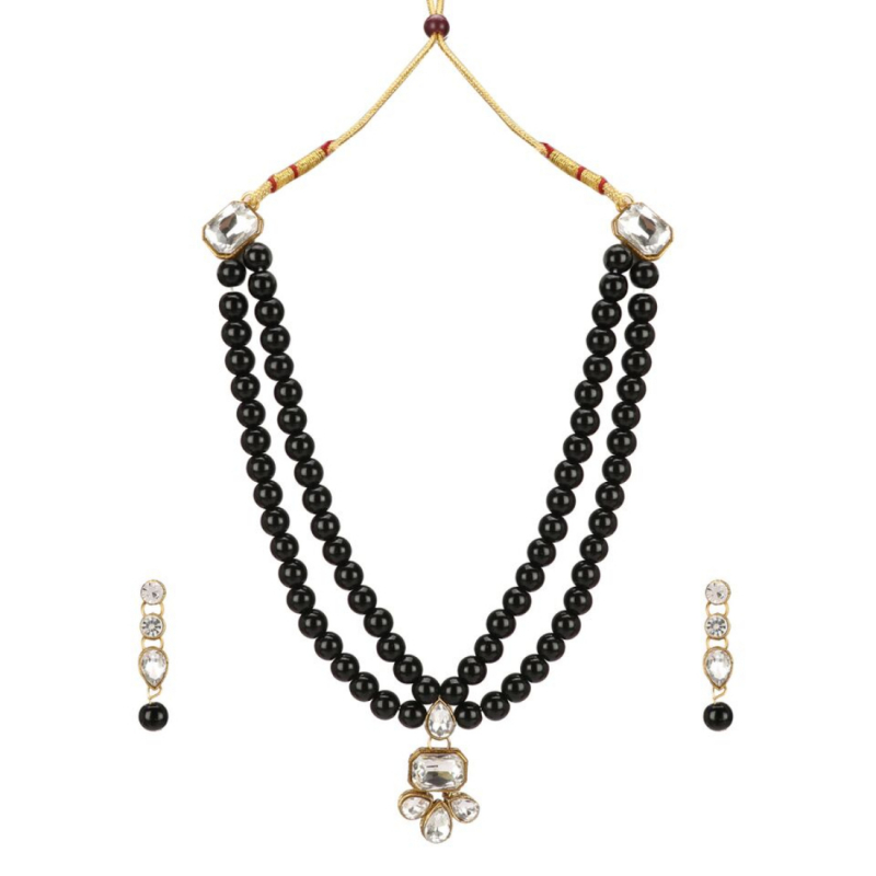 Black Traditional Gold Plated Kundan Necklace Set