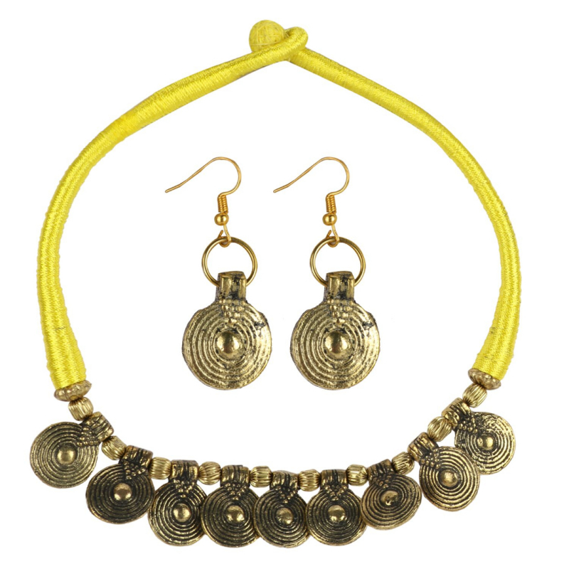 Yellow Thread Golden Oxidized Necklace set