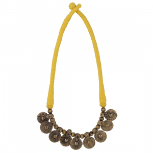 Yellow Silk Thread Necklace Set with Earring