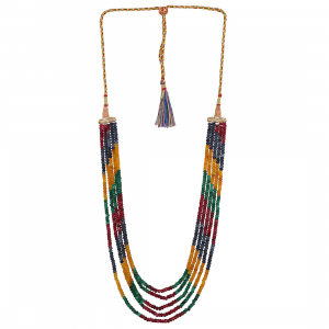 Five Layer Multicolur Crystal Beads Necklace With Earrings