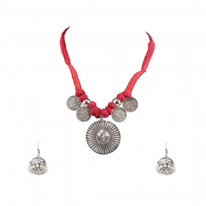 Designer Oxidized German Silver Necklace with with