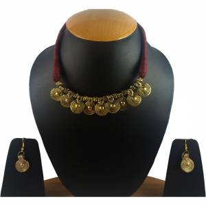 Andaaz Maroon Silk Thread Necklace Set with Earring