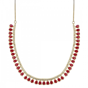 Designer Sleek Ruby Stone American Diamond Necklace Set