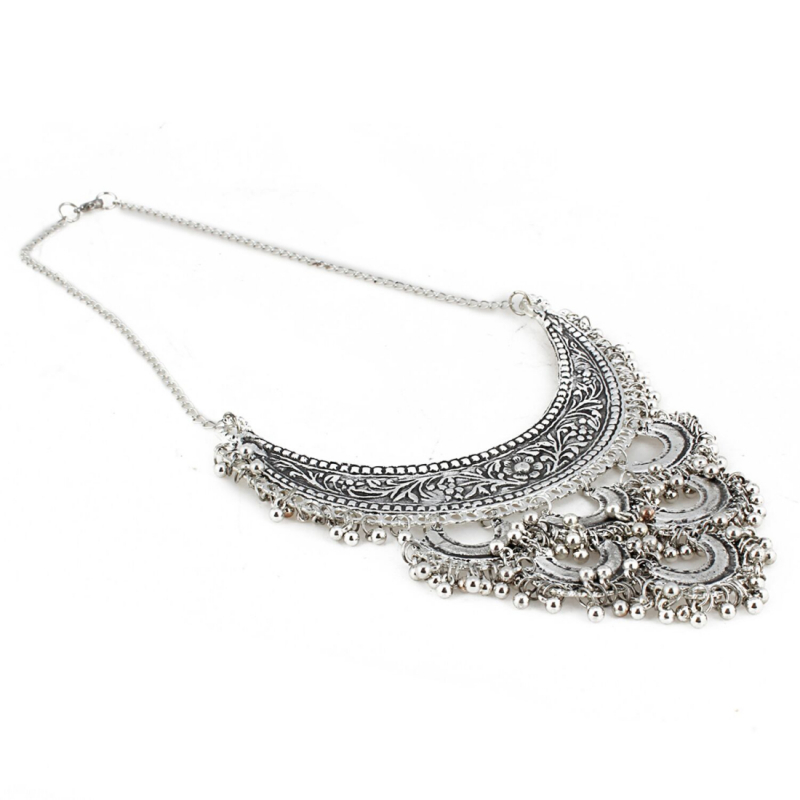 Antique Silver Half Moon Designed Tassel Necklace Set
