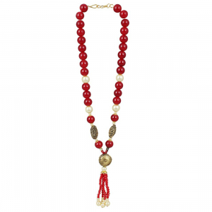 Designer Handmade Maroon Beads Traditional Necklace