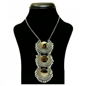 Designer Oxidized Silver Afgani Necklace