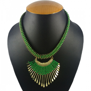 Designer Metal and Green Thread Necklace