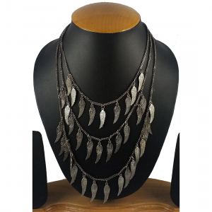 Multi Layer Oxidized German Silver Designer Feather Style Tribal Necklace