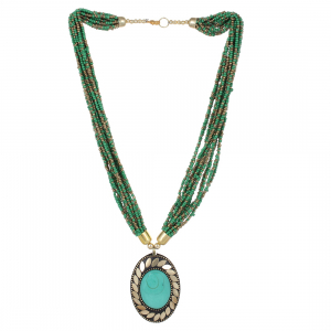 Green Color Beads Designer Tibetan Style Necklace