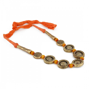 Orange Metal Strand Necklace