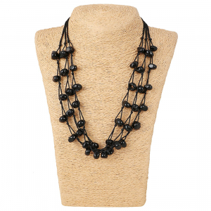 Designer Multi Strand Black Beads Necklace