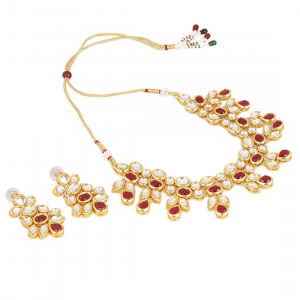 Maroon Gold Plated Kundan Necklace Set With Earrings