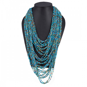 Blue Multi Layer Beads Necklace