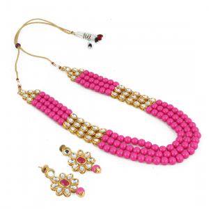 Three Layer Gold Plated Pink Kundan Necklace Set with Earrings