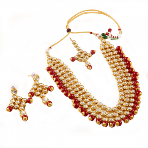 Designer Gold Plated Maroon Kundan Necklace Set