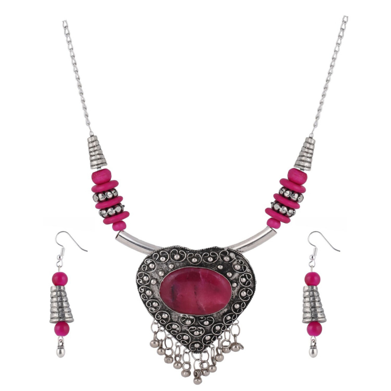 Designer Heart Shaped Metal and Pink Stone Tibetan Necklace with Earrings
