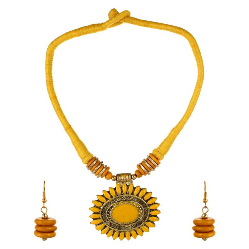 Andaaz Yellow Silk Thread Necklace Set with Earring