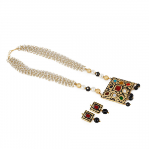 Designer Blue Navratan and Kundan Necklace Set with Onyx Beads