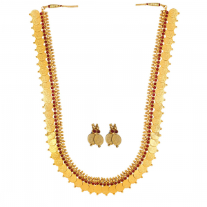 Gold Plated Copper Traditional Designer Temple Coin Necklace with Earrings