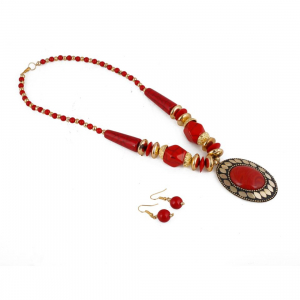 Tibetan Style Handmade Red Beads Necklace with Earrings Set