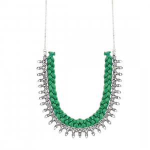 Designer Green Silk Thread German Silver Necklace Set