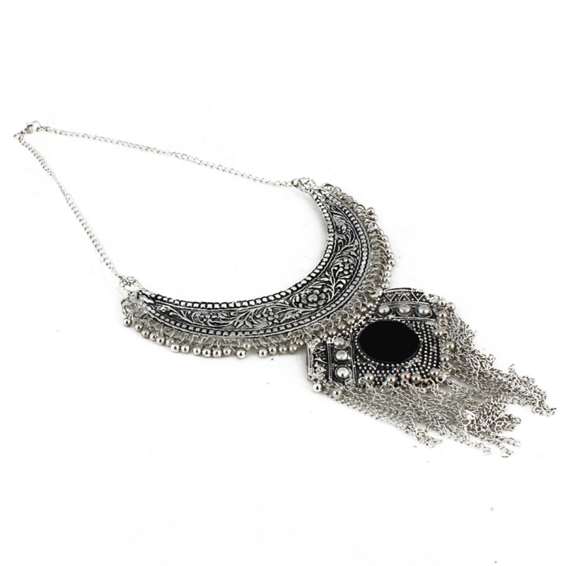 Afghani Designer Turkish Style Vintage Oxidized German Silver Tribal Necklace Pandent Antique Jewellery