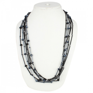 Designer Shining Black Multi Layer Crystal Beads