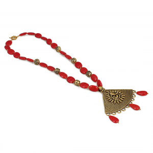 Designer Premium Red Onyx Stone Oxidized Pendant Fashion Statement Necklace
