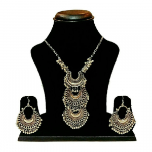Oxidized Silver Boho Necklace Set