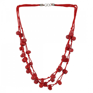 Designer Multi Strand Red Beads Necklace