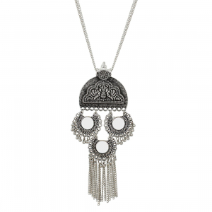Afghani Designer Turkish Style Oxidised German Silver Chandbali Necklace Pandent Jewellery