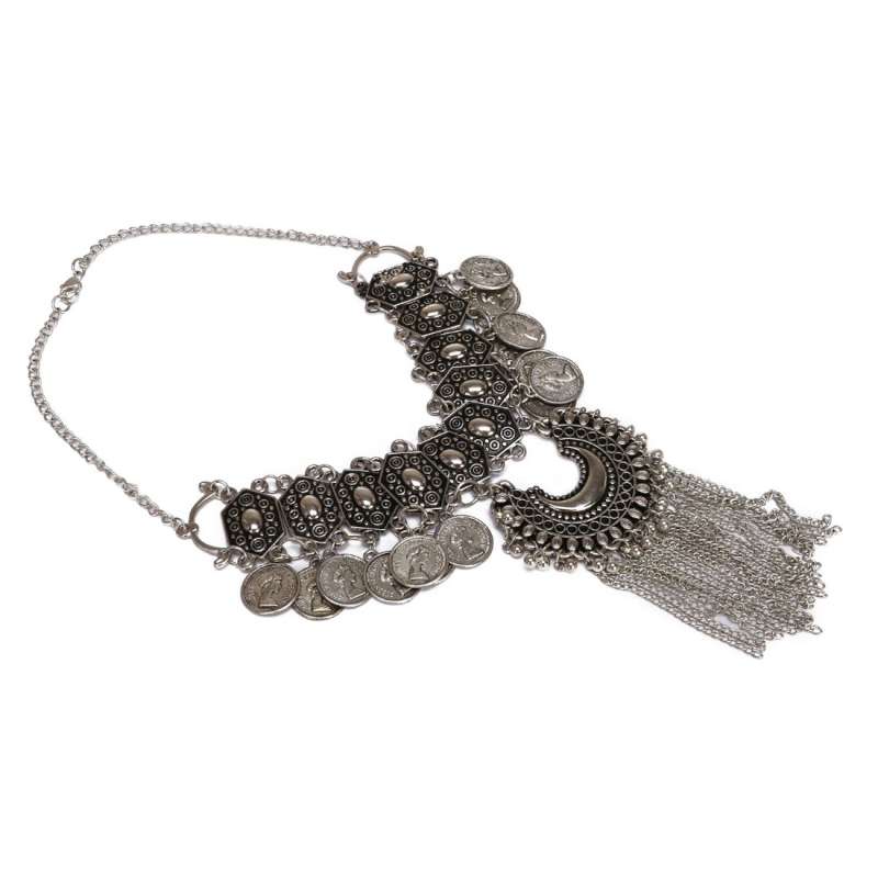 Boho Afgani Turkish Silver Coin Necklace