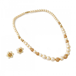 Pearl Golden Beads Necklace with Earrings