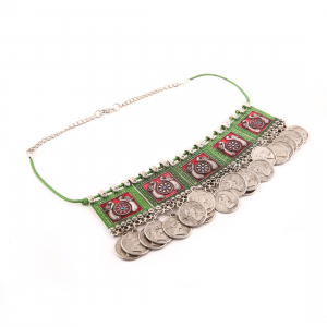 Oxidised Silver Plated Meena Work Choker Necklace