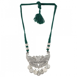 Designer German Silver Peacock Style Necklace with Green Thread Dori