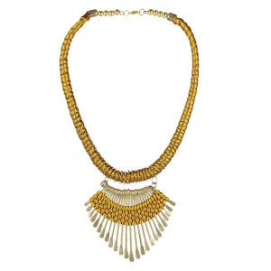 Designer Metal and Yellow Thread Necklace
