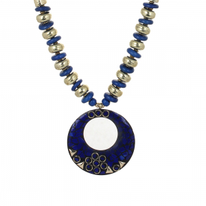 Blue Color Designer Tibetan Style Necklace