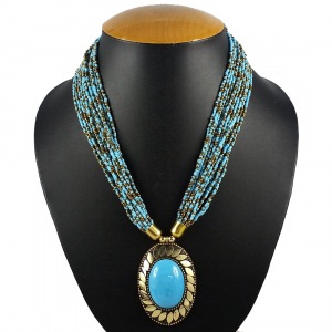 Blue Color Beads Designer Tibetan Style Necklace