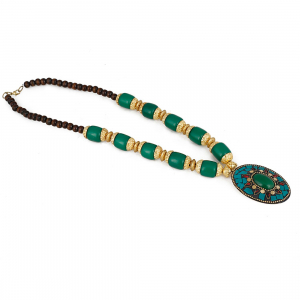 Designer Pendant Green Beads Necklace