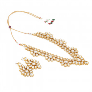 Golden Crystal Jewellery Kundan Necklace Set With Earrings